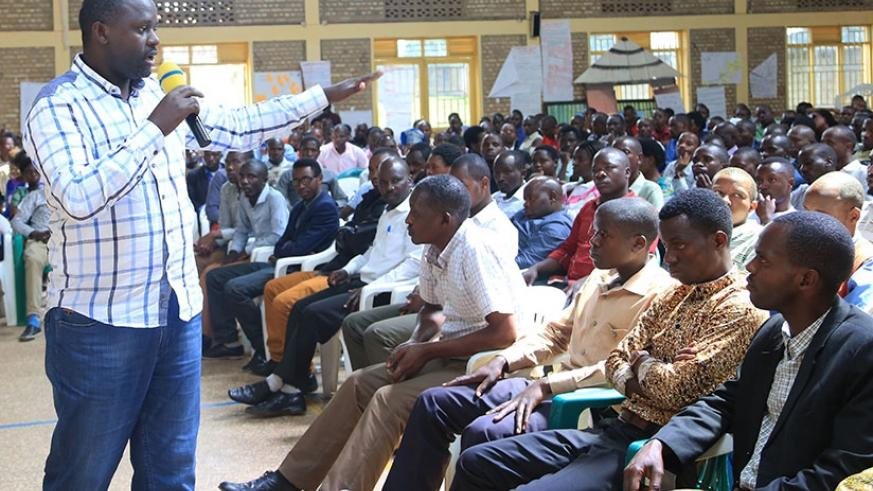 The Director General of Rwanda Education Board, Janvier Ismail Gasana, addresses teachers who completed a mentorship training in Rwamagana yesterday. Story on page 8. Sam Ngendahimana