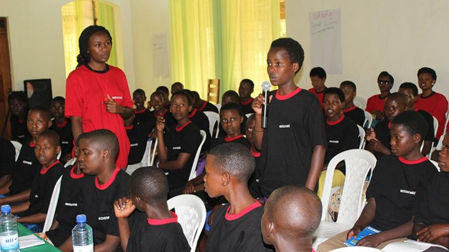 A girl at the camp in Kigali asks a question. Diane Mushimiyimana.