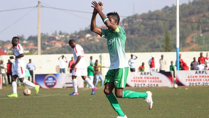 Skipper Fabrice Mugheni Kakule netted opening goal for SC Kiyovu in the 3-0 win over Etincelles to go two points clear at the top. Courtesy