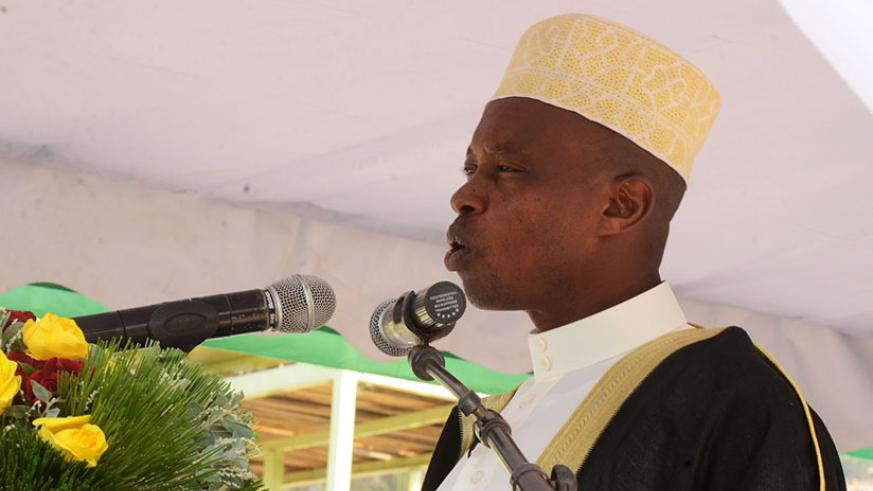 Mufti Sheikh Salim Hitimana speaks during Eid al-Fitr prayers early this year. The Mufti and other clerics have called on Rwandans to work hard so that the country's development ag....