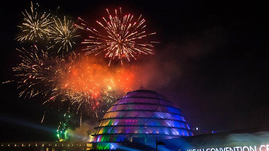 A spectacular display of fireworks over Kigali Convention Centre, one of the three sites in Kigali where fireworks were fired off as Rwandans ushered in the New Year at stroke of m....