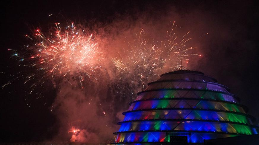 Fireworks explode at Kigali Convention Centre. Nadege Imbabazi.