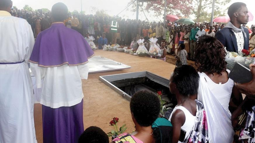 Mourners gather at Muyumbu Genocide Memorial Site to pay tribute to victims of the Genocide against the Tutsi, last year. (File)