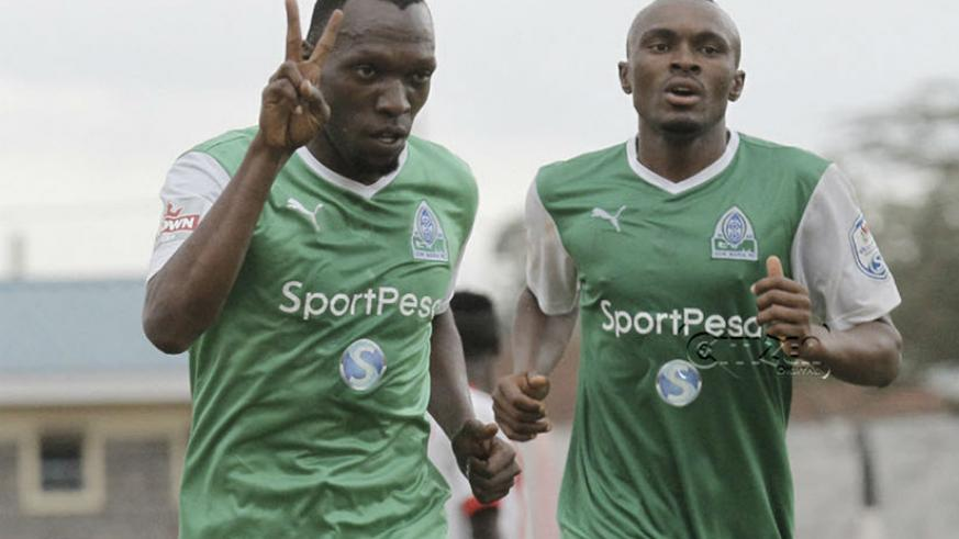 Rwandan forwards Meddie Kagere and Jacques Tuyisenge, both feature for Kenyan Premier League giants Gor Mahia, which is sponsored by SportPesa. / Net photo