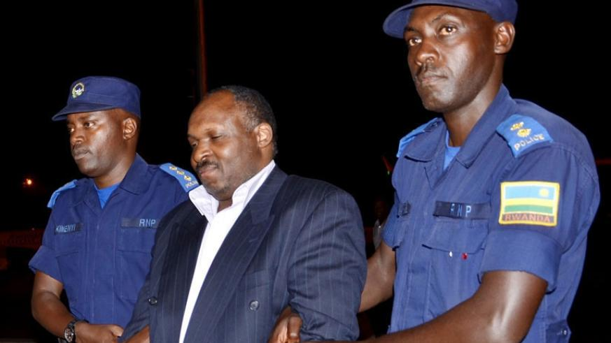 Mbarushimana when he was extradited from Denmark in 2014. He was last month sentenced to life imprisonment over his role in the Genocide against the Tutsi.. File.