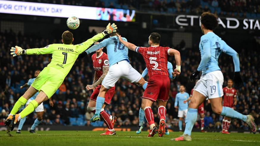 Sergio Aguero scored an injury-time winner as Manchester City beat Bristol City 2-1 in the first-leg of Carabao Cup semi-final. / Net photo