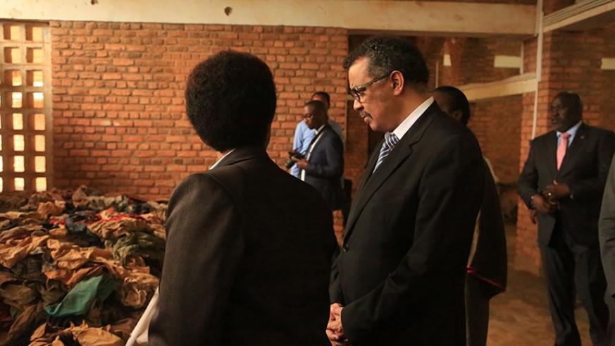 Dr. Tedros Adhanom Ghebreyesus at Nyamata Genocide Memorial where he paid his respects to the victims of the Genocide against the Tutsi, on Thursday. / Sam Ngendahimana