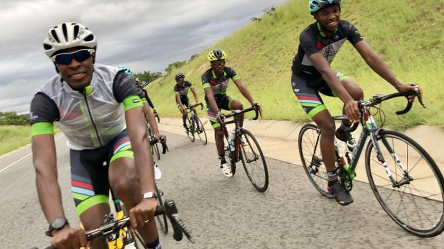 Niyonshuti with Jim Songezo whom they together in Dimension Data before they both joined Sampada Cycling Team. / Courtesy