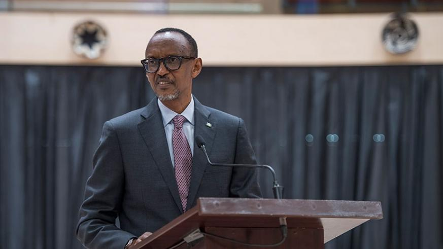 President Kagame addresses members of the diplomatic corps accredited to Rwanda at Kigali Convention Centre yesterday. (Photos by Village Urugwiro)