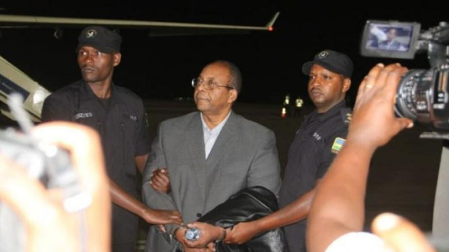 Mugimba arrives at Kigali International Airport following his extradition from The Netherlands in 2016. (File)