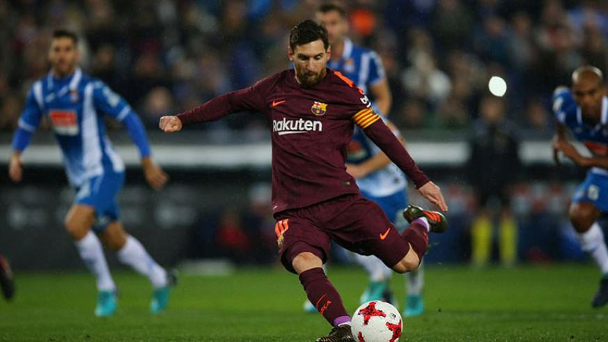 Lionel Messi missed a penalty as Barcelona were defeated by their neighbours in a bad tempered quarter final first leg. / Net photo