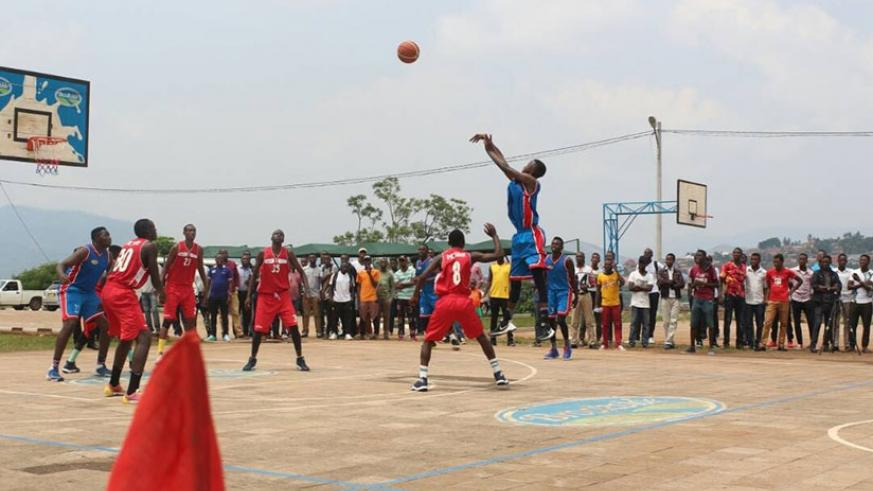 Fiston Irutingabo, attempting a three-pointer, scored a game high 23 points but didn't save the day for IPRC-Kigali, who play Rusizi on Sunday. / R. Bishumba