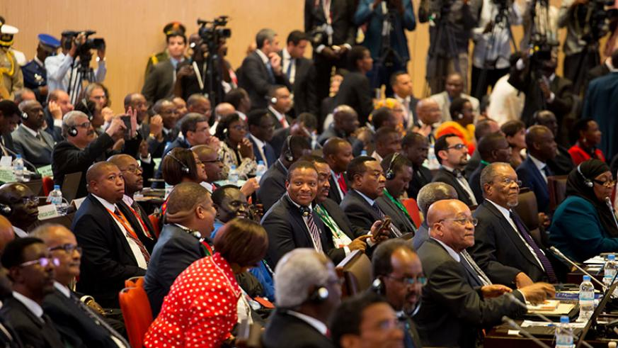 Delegates attend the African Union meeting in Kigali in 2016. The AU asked the US president to clarify remarks attributed to him which degrade and insulted African people. / Kisambira T.
