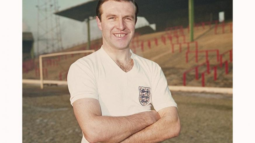 Armfield poses in an England shirt at Blackpool's Bloomfield Road stadium in 1962.