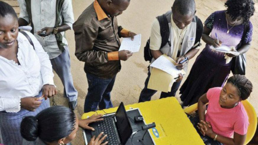 MTN customers register their SIM cards during a past registration exercise. / File