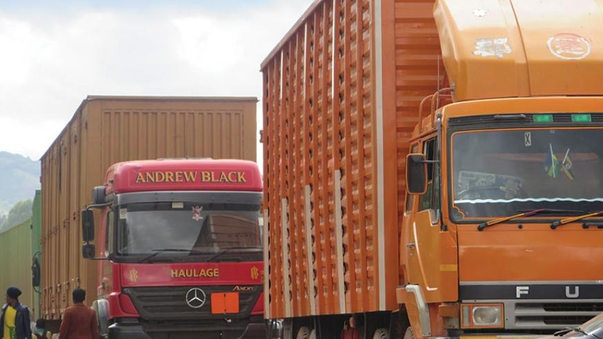 Cargo trucks wait for clearance at Katuna border. The new initiative seeks to ease trade across the bloc. File.