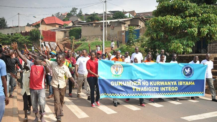Youth volunteers in anti-crime awareness march. Courtesy.