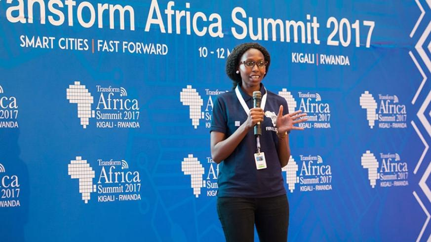 Ms Geek Africa winner 2017 Ruth Njeri Waiganjo explains her project before the judges in Kigali last year. (File)
