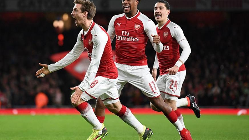 Nacho Monreal, whose initial header sparked a double deflection off Marcos Alonso and Rudiger, wheels away to celebrate. (Net photo)