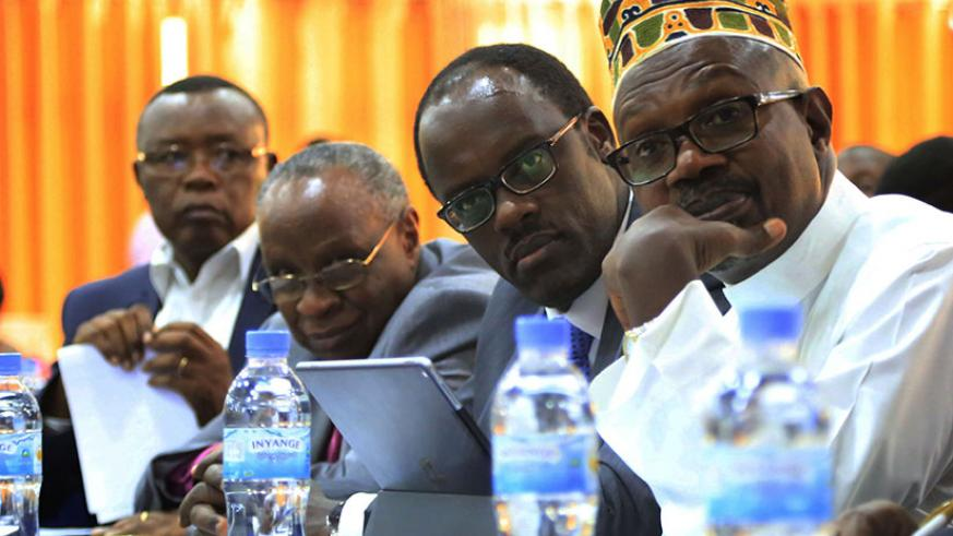 Officials from religious and public institutions follow discussions during the meeting in Kigali yesterday. (Photos by Sam Ngendahimana)