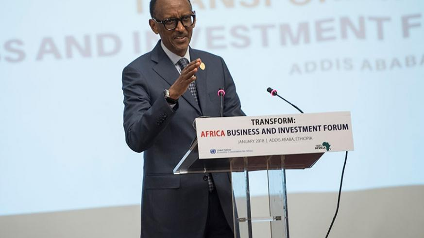 President Kagame addresses the Africa Business and Investment Forum in Addis Ababa, Ethiopia on Tuesday. (Village Urugwiro)