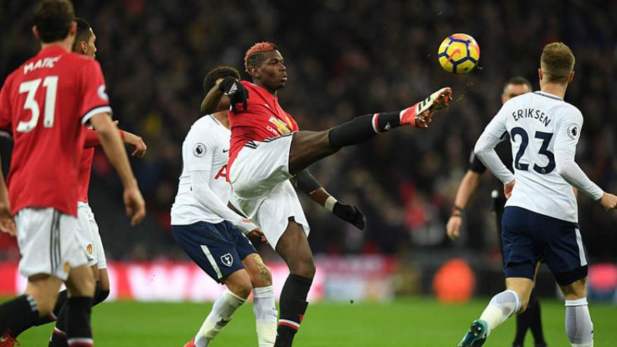 Pogba tries to get second-placed United going in the second half as they stared at their fourth league defeat of the season. / Net photo