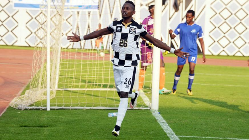 Striker Issa Bigirimana celebrates after netting APR's second goal in the 77th minute in the 2-1 win over Rayon Sports. / Courtesy