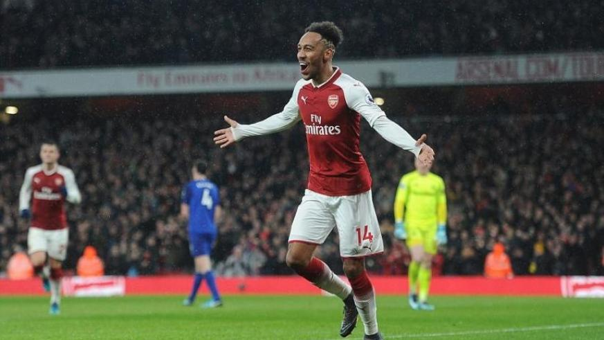 Pierre-Emerick Aubameyang celebrates scoring his first Arsenal goal as Arsenal ran out emphatic 5-1 winners against Everton