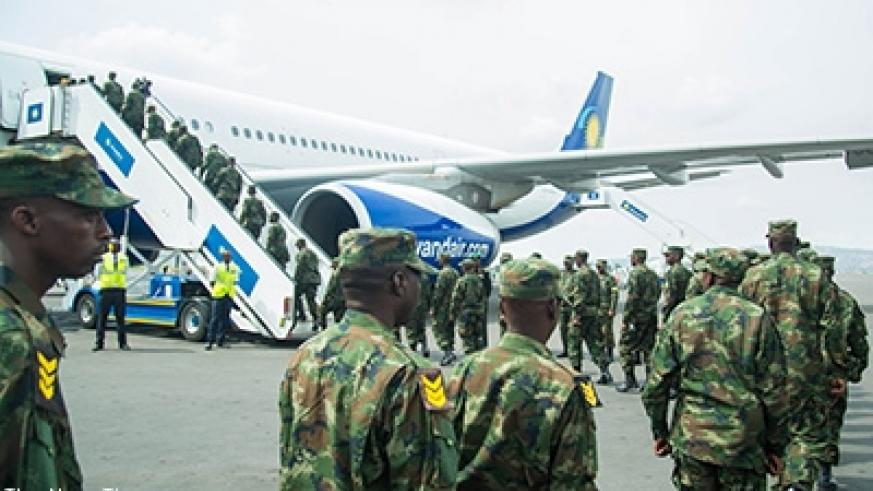 270 Rwanda Defence Force soldiers of the mechanised infantry battalion yesterday left Rwanda for a rotational peacekeeping mission in Juba, South Sudan. Story on Page 2. Courtesy.
