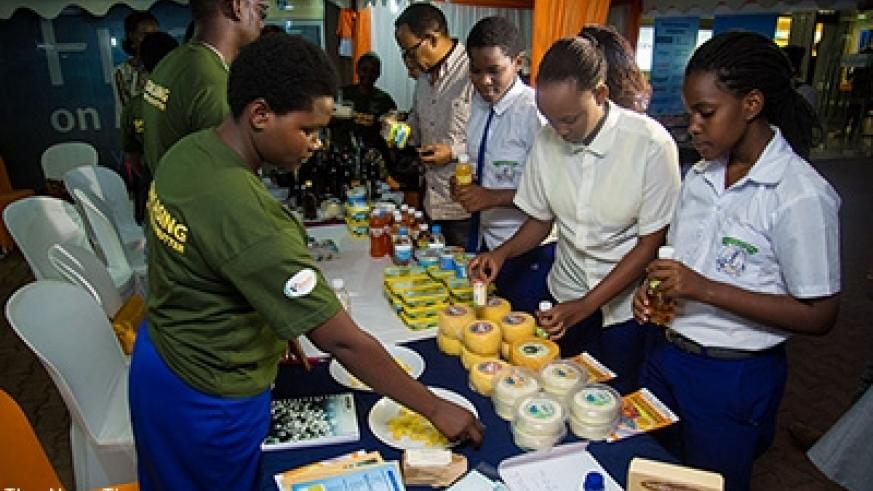Exhibitors showcase cheese products on May 28, 2016. About 32 dairy products now have standardisation mark from the Rwanda Standards Board. File