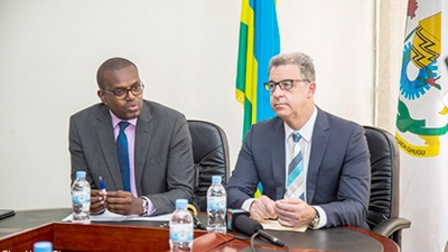 Prosecutor General Mutangana together with Chief Prosecutor of the Mechanism for International Criminal Tribunals (MICT), Dr Serge Brammetz, brief the media in Kigali on Tuesday. E Mpirwa.
