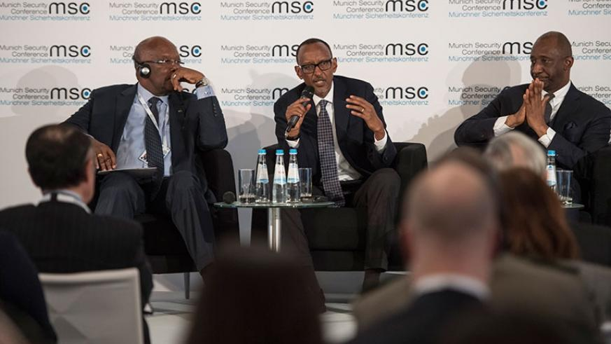 President Kagame speaks during a panel discussion on Securing the Sahel at the 54th edition of the Munich Security Conference in Germany yesterday. On his right is President Roch M....