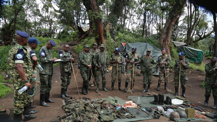 EJVM visit RDB base which was attacked by FARDC last week in Shingiro Sector, Musanze District. Courtesy