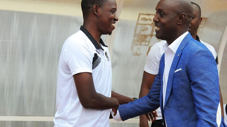 Since joining Rayon Sports this season, Karekezi, right, has beaten his former teammate and good friend,  Mulisa, left, twice in four meetings. S. Ngendahimana