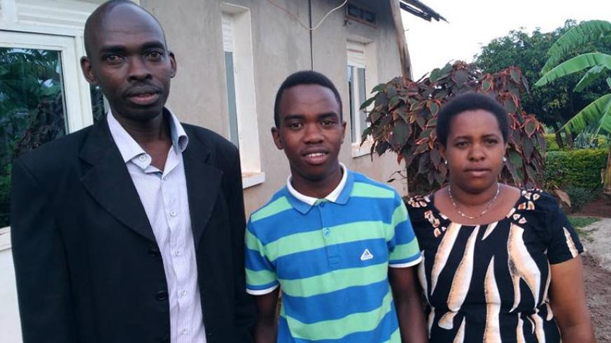 Nshizirungu and his parents in Kirehe. Courtesy.