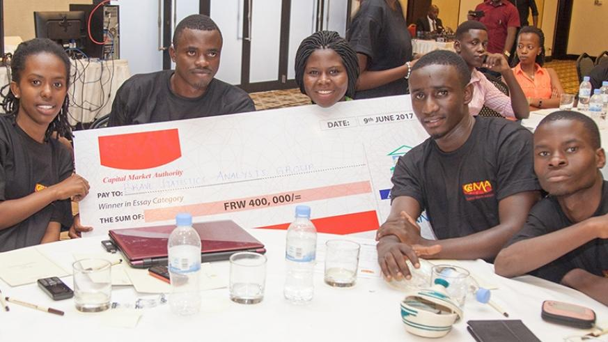 Some of the third edition of the Capital Market University Challenge winners. This year's edition kicks off today. / Courtesy.