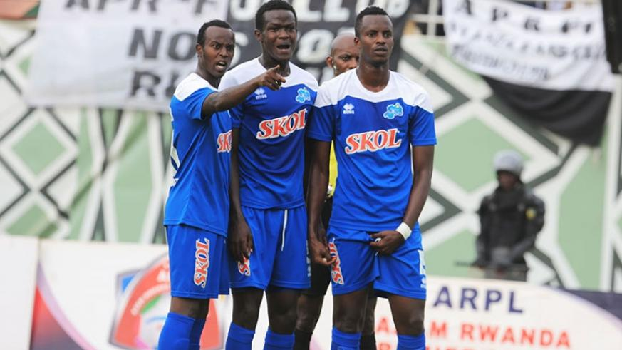 Rayon Sports players (L-R) Olivier Niyonzima, Ange Mutsinzi and Faustin Usengimana will be hoping to inspire their team to victory today. File.