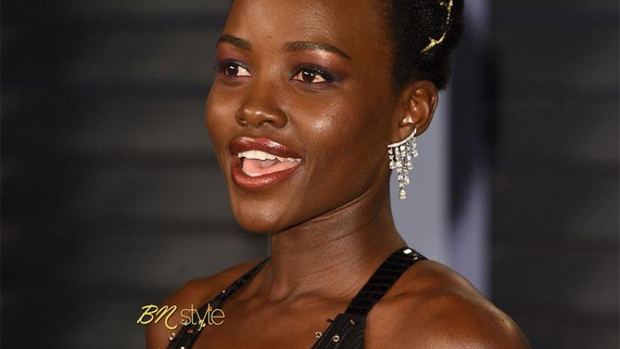 Actress Lupita on the Oscars 2018 red carpet, Sunday evening. /Courtesy photos.
