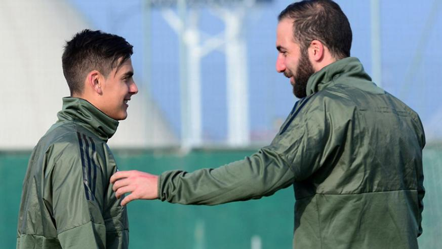 Juventus' Paulo Dybala and Gonzalo Higuain during training. Net photo