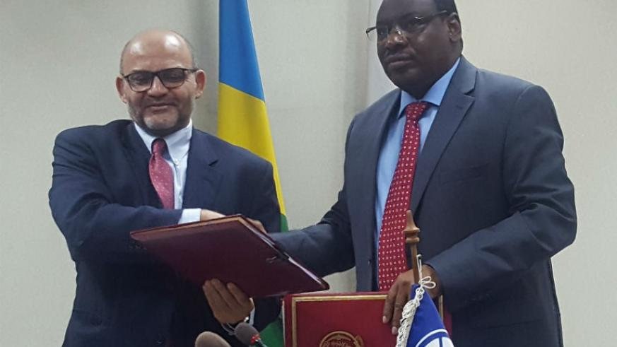 Minister Gatete and Yasser El-Gammal the World Bank Country Manager after the signing.
