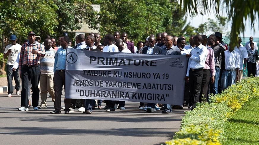 "Workers of Primature during a past ""Walk to Remember"" in honour of victims of the 1994 Genocide against the Tutsi. File."