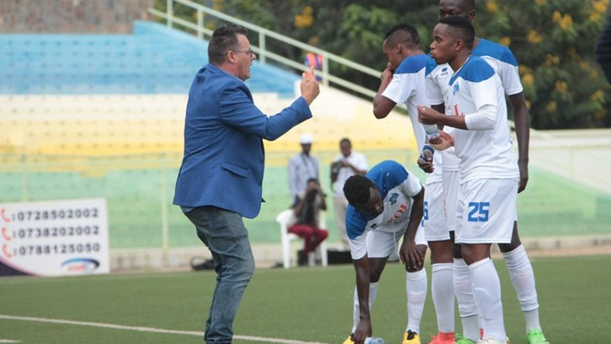 Ivan Minaert giving instructions to his players during the league game against Espoir on Sunday. Courtesy.