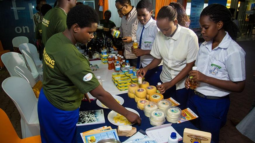 Exhibitors showcase cheese products. About 32 dairy products now have standardisation mark from the Rwanda Standards Board. File.