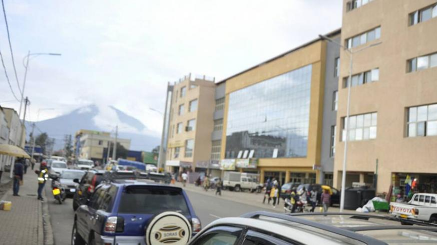 Mount Muhabura in the background seen from Goico shopping mall in Musanze city