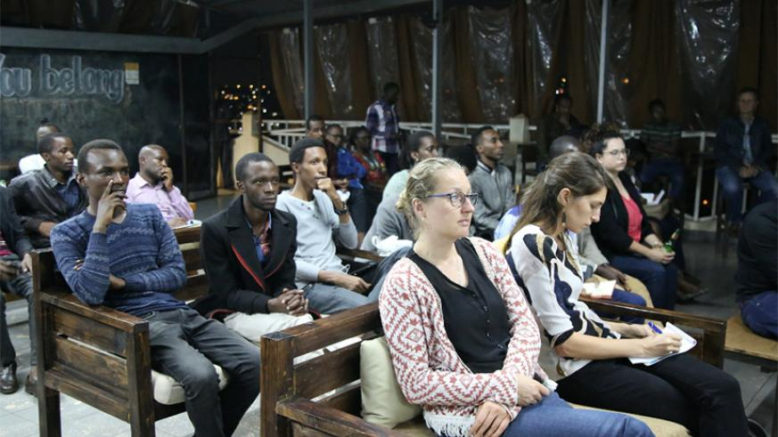 Green Drinks Kigali participants at Tuesday's event on wetlands management. Courtesy.