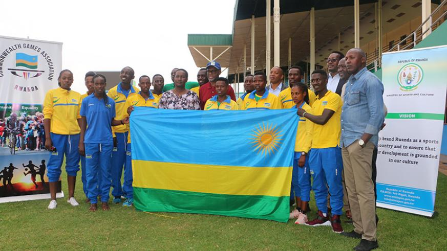 Minister for Sports and Culture, Julienne Uwacu (C) flagged off the national team to this year's Commonwealth Games. Courtesy