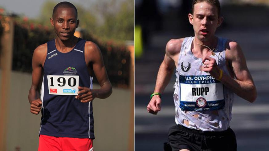 L-R: Rwanda's Felicien Muhitira finished in fifth place, although his target was to come in the top three.   Galen Rupp in action in the marathon. / Net photo.