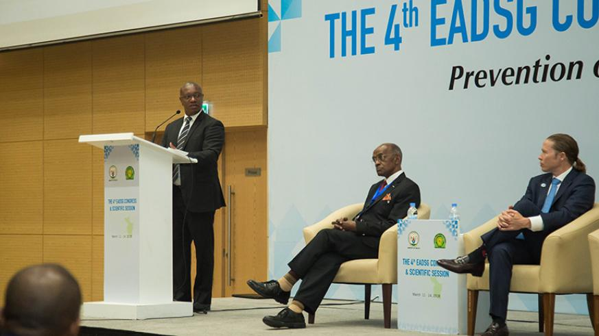 Ndimubanzi speaks during the 4th EADSG congress and scientific session on prevention of diabetes and its complication yesterday. Nadege Imbabazi.