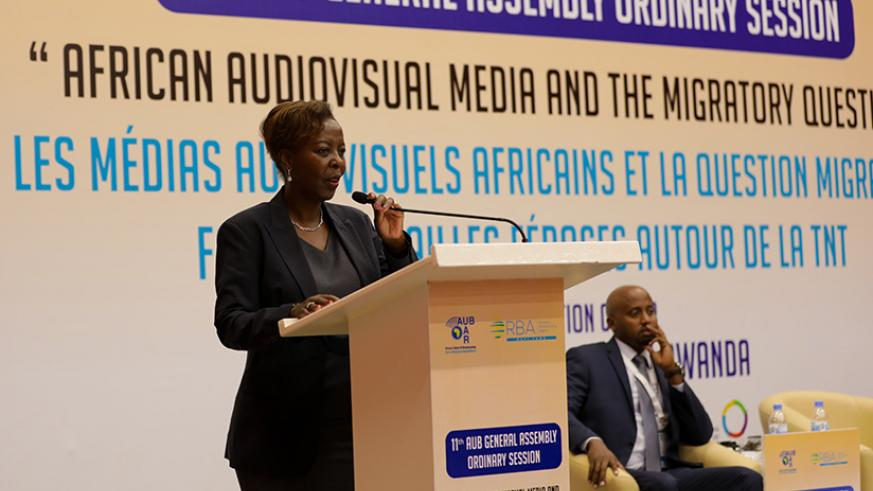 Foreign affairs minister Louise Mushikiwabo delivers a keynote address at the opening of the 11th General Assembly of the African Union of Broadcasting at Kigali Convention Centre ....