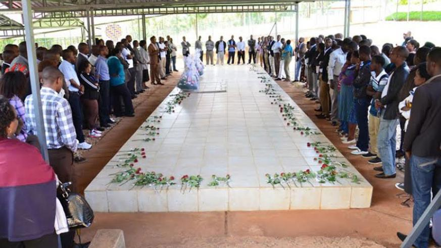 Mourners pay tribute to Genocide victims at Nyanza-Kicukiro Genocide memorial in 2015.